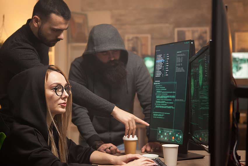 hackers launching cyber attack on a network